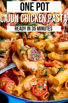This Super Quick and easy Cajun chicken pasta one-pot is a winner for the family dinner table. All cooked in one pan and on the table in 35 minutes, it makes a great mid-week dinner. This Cajun Chicken pasta has piles of cajun chicken and chorizo all cooked together in a creamy tomato sauce. #Cajun #Pasta #Chicken #OnePot #CajunChicken #ChickenPasta