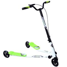 New Kids 3 Wheels Foldable Speeder Scooter Tri Slider Winged Push Motion Drifter Flicker Green Large Type for Age