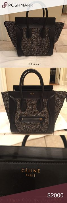 Celine mini luggage tweed black purse - New! This brand new, mint condition Celine mini luggage tweed bag has never seen the light of day. It lives in its dust bag in my closet, new with tags. Celine Bags Totes
