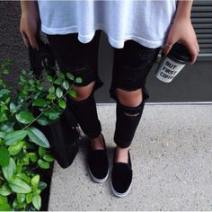 jeans black black jeans black ripped jeans ripped jeans skinny jeans skinnies skinny vans summerw hite and black coffee girl damselkate clothes urban streetstyle swag ripped ripped urban outfitters shoes black flats flats slip on shoes black shoes classy black and white