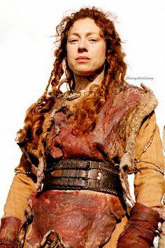 """Warrior Queen"" starring Alex Kingston as Boudica (Boudicca) Christina Cole, Alex Kingston, Celtic Warriors, Queen Art, Warrior Queen, Art Design, Celebrity Weddings, Costume Design, Character Inspiration"