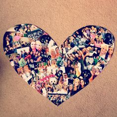 DIY heart picture collage. I cut 2 pieces of poster board and shaped them to make a heart. Then, all you have to do is arrange your pictures how you want them!