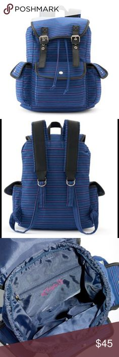 CANDIE'S Stripe Backpack 🎉HP🎉NWT Candie's Anna blue and pink striped backpack is a fashionable and functional must-have. It features blue & pink striped design with black faux letter trim and silvertone hardware. PRODUCT DETAILS 15.5''H x 8.5''W x 4.5''D Top handle: 2'' Handle & adjustable straps Exterior: 3 pockets Interior: zip pocket and slip pockets Canvas  *Bundle Discounts * No Trades * Smoke free Candie's Bags Backpacks