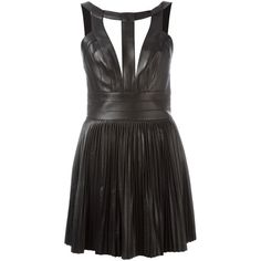 Dsquared2 bondage style mini dress (€1.675) ❤ liked on Polyvore featuring dresses, black, leather cocktail dress, leather circle skirt, short cut out dresses, cut out mini dress and short dresses