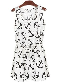 Vestido plisado ancla sin manga-blanco