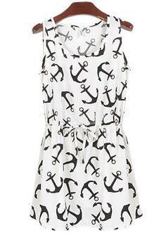 Weißes ärmelloses Plissee Kleid mit Ankermuster 9.50
