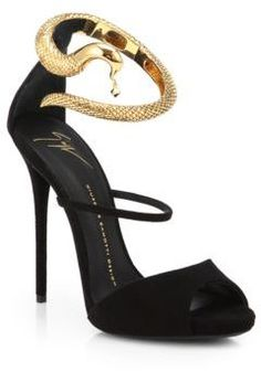 Giuseppe Zanotti Suede Snake-Strap Sandals