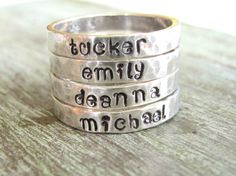 Hand Stamped Personalized Stacking Ring - Sterling Silver - Kids Names Family Mothers Gift on Etsy, $26.00