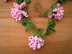 beaded necklace pink and green