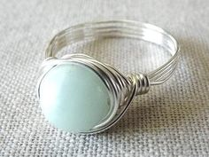 Amazonite Ring  Green Stone Ring  Wire Wrapped by PepperandPomme