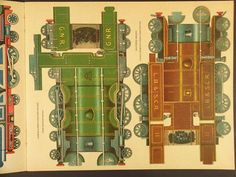 A Father Tuck's Express Trains Modelling book 212 x 265mm format incorporating seven card pages colour printed to cut out and construct CR, GNR, LB&SCR, GWR, LNWR, MR locomotives, two coaches, cattle