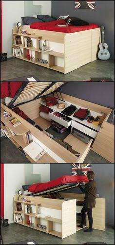 Need extra storage in the bedroom, but don't have the floor space for cabinets? This bed proves that the space under your bed is great for extra storage. To inspire you we've put together a collection of space efficient storage beds http://theownerbuildernetwork.co/cjic Head over to the gallery now and choose the bed that's perfect for you.