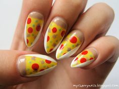 pizza, salame, food, olives, nails, nail art, manicure