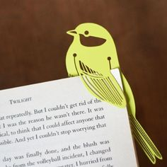 Cute birdie bookmark. Link doesn't work but the idea could work with a stiff piece of paper and a sharp cutter and whatever clip art you liked.