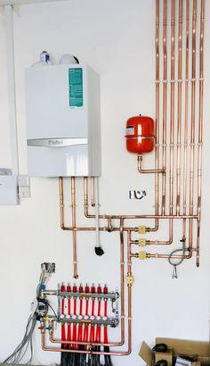 Central heating system with underfloor heating Underfloor Heating Installation, Water Underfloor Heating, Victorian House Interiors, Victorian Homes, Hydronic Radiant Floor Heating, Mechanical Room, Plumbing Installation, Plumbing Pipe, Central Heating