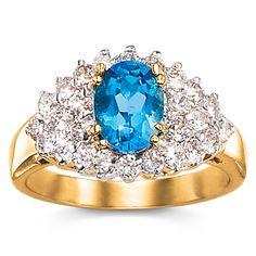 2-Carat Genuine Blue Topaz and Cubic Zirconia Ring