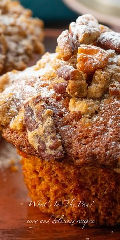 Pumpkin pecan crumble muffins are soft and moist and are topped with sweet cinnamon pecan topping. Pecan Recipes, Pumpkin Recipes, Fall Recipes, Baking Recipes, Dessert Recipes, Pumpkin Pecan Cake Recipe, Pumpkin Pecan Cobbler, Donut Recipes, Fall Desserts