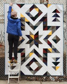 r/quilting - I was commissioned to make this quilt for a woman who's mother passed away. I hate doing large quilts but this was felt really special to make. Beautiful quilt using plaods and other fall colors Faceted star quilt Looks dramatic but not com Big Block Quilts, Star Quilt Blocks, Star Quilt Patterns, Star Quilts, Scrappy Quilts, Quilting Projects, Quilting Designs, Southwest Quilts, Flannel Quilts