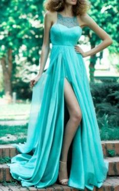 Gorgeous Color! Sexy Aqua Blue Lace Round Collar Sleeveless See-Through Lace Spliced Women's Maxi Dress #Aqua #Blue #Lace #Collar #Side_Slit #Maxi #Dress #Fashion