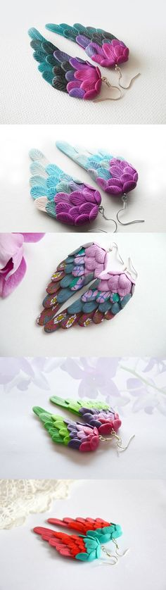 Polymer clay sculpted angel wing earrings – My Vian - DIY Schmuck Polymer Clay Kunst, Fimo Clay, Polymer Clay Charms, Polymer Clay Projects, Polymer Clay Creations, Polymer Clay Earrings, Clay Beads, Clay Crafts, Polymer Clay Dragon