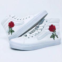 custom vans, rose vans custom, rose custom vans, rose vans, vans with roses, vans custom roses, custom embroidered vans, cool custom vans