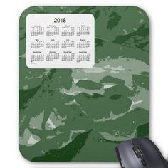 2018 Calendar by Janz Green Camouflage Mousepad