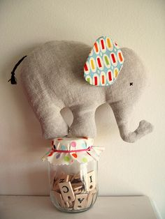 Nana Company elephant toy… made from baby clothes as a memory/keepsake… Sewing Toys, Baby Sewing, Sewing Crafts, Elephant Crafts, Baby Elephant, Stuffed Elephant, Baby Hippo, Softies, Sewing For Kids