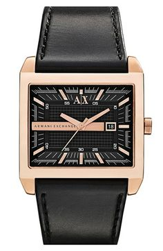 68d34bbb90bb AX Armani Exchange Rectangular Leather Strap Watch