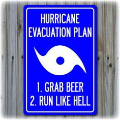Hurricane Evacuation Plan Sign 18 x 12 by Travelsigns on Etsy