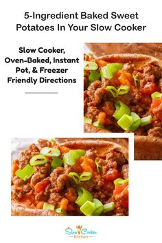 Cheap and easy, quick and tasty chili stuffed slow cooker sweet potatoes! With slow cooker, oven-baked, pressure cooker, & freezer friendly directions! I hope this recipe helps you feed everyone & makes them smile. Enjoy! | SlowCookerKitchen.com Slow Cooker Recipes, Crockpot Recipes, Slow Cooker Kitchen, Slow Cooker Sweet Potatoes, Oven Baked, Freezer Meals, Crock Pot, Chili, Tasty