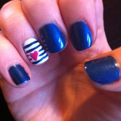 Blue Shellac with pink love heart ring finger design.