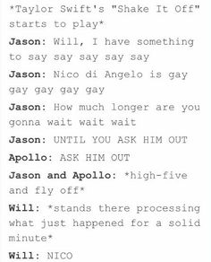 I haven't even read the books yet, but this is freaking hilarious Arte Percy Jackson, Percy Jackson Head Canon, Percy Jackson Ships, Percy Jackson Quotes, Percy Jackson Books, Percy Jackson Fandom, Solangelo, Percabeth, Green Day
