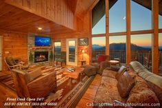 "It's a great view of the Smoky Mountains from Highlander Lodge. How to rent this luxury cabin at half price? Click through to our Specials page - through August 2015 we have 30-50% off weekends and ""Buy 2 Get 2 Free"" on weekdays. Call us 24/7 at 855-91-SMOKY."