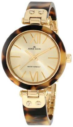 Anne Klein Women's 109652CHTO Gold-Tone Tortoise Plastic Bezel and Bangle Bracelet Watch