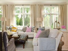 Stripe Draperies. Horizontal Stripe Draperies. Living Room with neutral Horizontal Stripe Draperies. #HorizontalStripeDraperies #StripeDraperies #LivingRoomDraperies  Bria Hammel Interiors