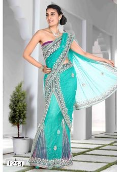 Sea Green Net Lehenga Style Saree