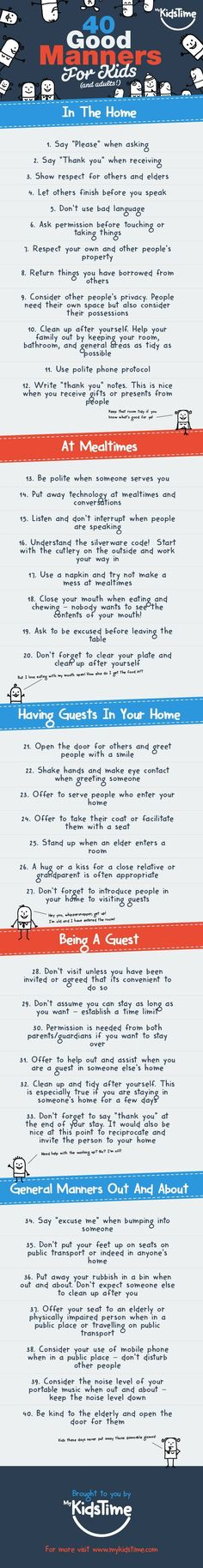 Get your child noticed for all the right reasons and stand out as a model parent! Here are 40 good manners for kids, that every child (and adult!) should know