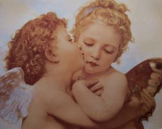 William-Adolphe Bouguereau The First Kiss Picture Wall Decor Art Print Poster Angel Wallpaper, Painting Wallpaper, First Kiss Picture, Vintage Illustration, Munier, Victorian Angels, William Adolphe Bouguereau, Angel Aesthetic, Wallpaper Pictures