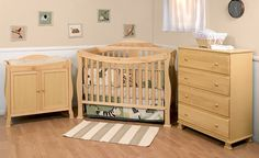 3 Piece Nursery Furniture Sets With Natural Color Collections