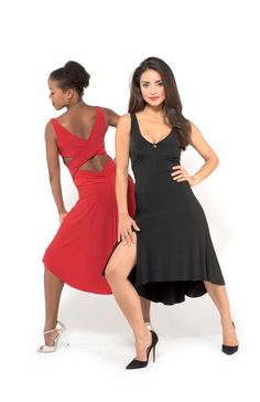 Simple RED ARGENTINE TANGO DRESS with criss cross back and draped back skirt http://thelondontangoboutique.com/product/criss-cross-back-draped-skirt-dress/