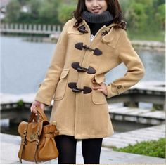 camel Wool coat  Horn button Coat Jacket  Autumn by colorstore2011, $47.99
