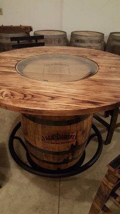 Jack Daniels Whiskey Barrel Table, with 4 Stave Chairs and Metal Footrest - (ask for freight quote) - Garden Chair Jack Daniels Whiskey Barrel, Whiskey Barrel Table, Whiskey Barrel Furniture, Whiskey Barrels, Whiskey Decanter, Wine Barrel Table Diy, Whiskey Bottle, Wooden Spool Tables, Wooden Spools