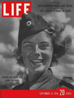size: Photographic Print: Swedish Red Cross Worker Ingrid Jarnald, September 1950 by Nina Leen : Subjects Look Magazine, Time Magazine, Magazine Covers, Magazine Photos, Popular Magazine, Life Cover, Astronauts In Space, Norman Rockwell, Vintage Magazines