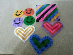 My sons hama hearts and smile faces
