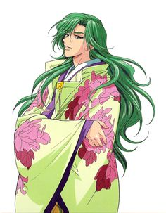 An anime character dressed in heian inspired robes.