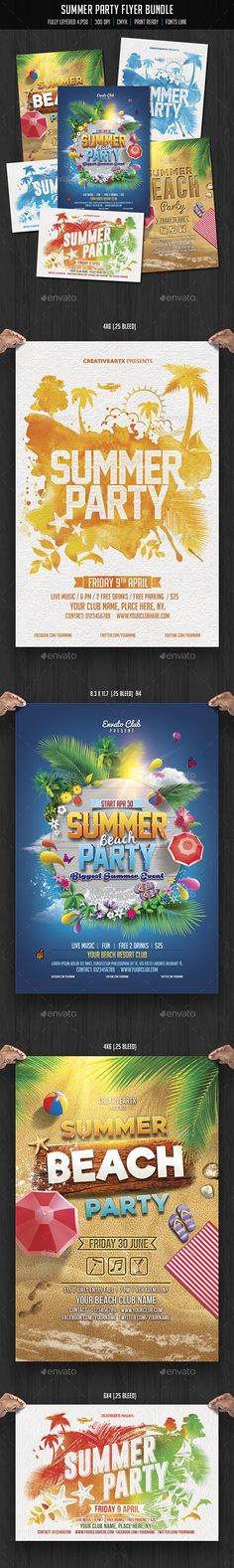 Summer Party Flyer Templates PSD Bundle. Download here: http://graphicriver.net/item/summer-party-flyer-bundle/15866812?ref=ksioks