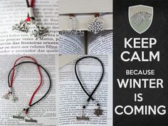 Game of Thrones bookmarks - Collection of 10 bookmarks, 5 different cord colors and 2 variations of charms (crown and snowflake). Status: Sold.