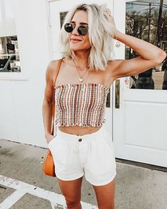 White shorts with cute striped tube top.