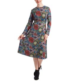 Look what I found on #zulily! Nancy Yang Gray Floral A-Line Dress by Nancy Yang #zulilyfinds