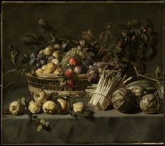 """Attributed to Frans Snyders """"Vegetables and a Basket of Fruit on a Table."""" Museum of Fine Arts, Boston."""
